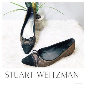 Stuart Weitzman Gold Pointed Toe Flats 🌸
